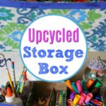 upcycled card board box with school supplies