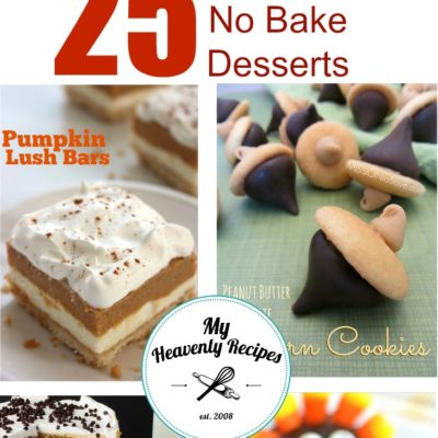 titled photo collage (and shown) 25 Easy No Bake Desserts