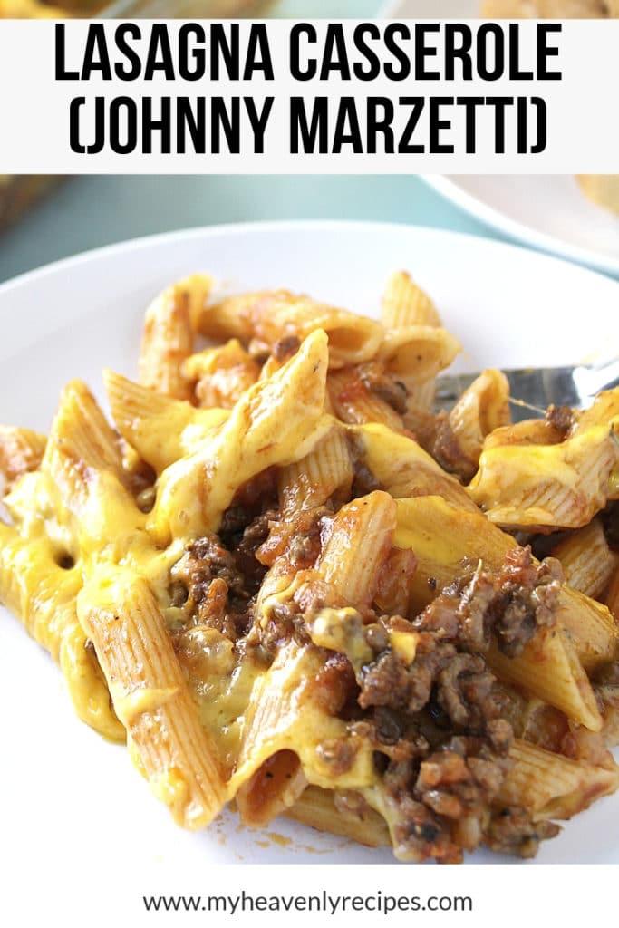 johnny marzetti lasagna casserole plated up close shot