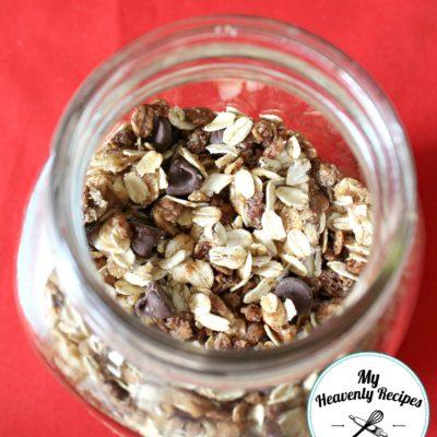 homemade granola in a mason jar