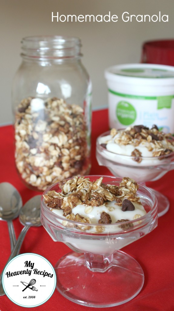 Homemade Granola sprinkled over dishes of vanilla ice cream