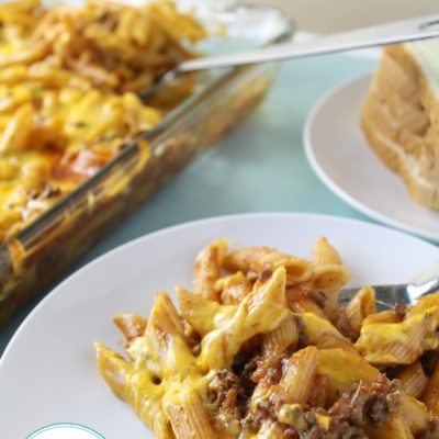 a plate of lasagna casserole known as Johnny Marzetti