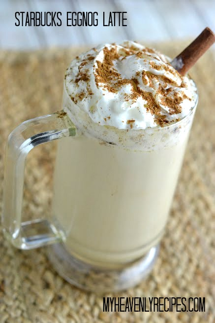 Starbucks EggNog Latte in a tall glass, garnished with whipped cream and a dusting of nutmeg