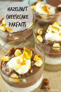 No Bake Hazelnut Cheesecake Parfaits With Candied Hazelnuts