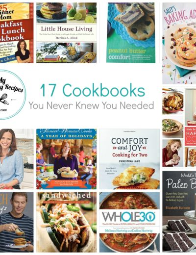 titled photo collage (and shown) 17 Best Cookbooks You Never Knew You Needed