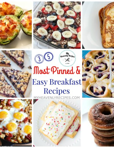 titled photo collage of 35 quick breakfast recipes