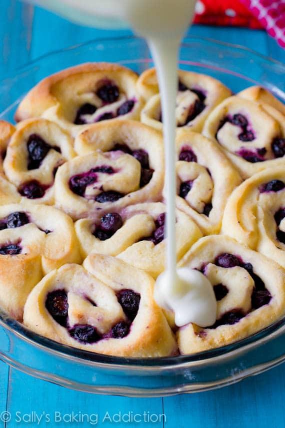 Blueberry Sweet Rolls with Sweet Lemon Glaze