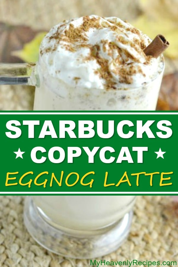This copycat Starbucks eggnog latte tastes just as good as the real thing! No matter the time of year, you can enjoy this copycat Starbucks recipe in the comfort of your own home for a fraction of the price. A delicious and easy latte recipe! #coffee #starbucks #copycat #eggnog #latte