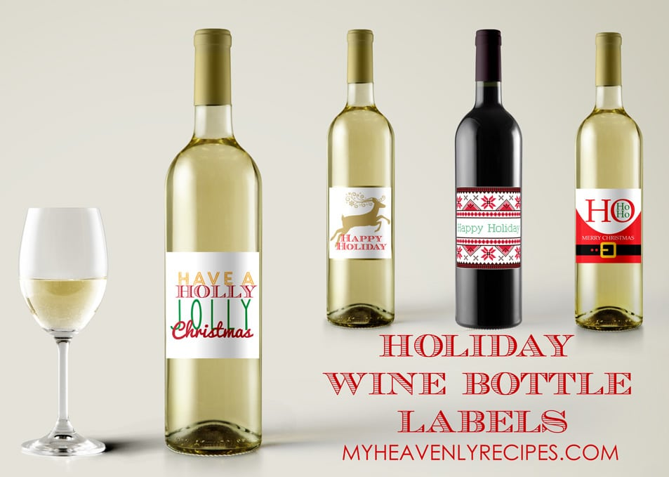 free printable labels for wine bottles (image shows 4 different Christmas-themed wine bottle labels)