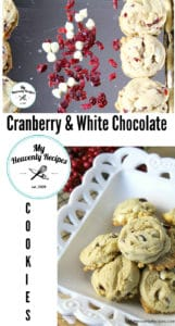 titled photo collage (and shown): Cranberry Cookies with White Choclate