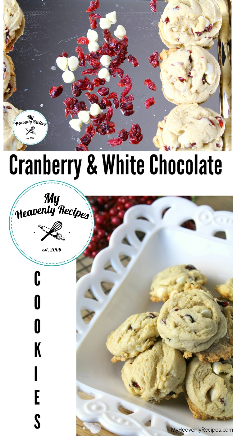 Cranberry Cookies with White Chocolate - This is the perfect Christmas cookie recipe! Soft cookies with dried cranberries and white chocolate chips. #Christmas #recipe #cookies