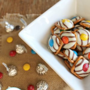 a bowl filled with homemade Hershey Kiss Pretzels treats