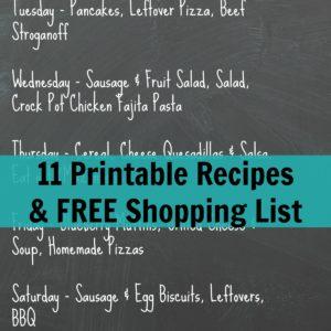 Weekly Meal Plan Ideas, Week 1