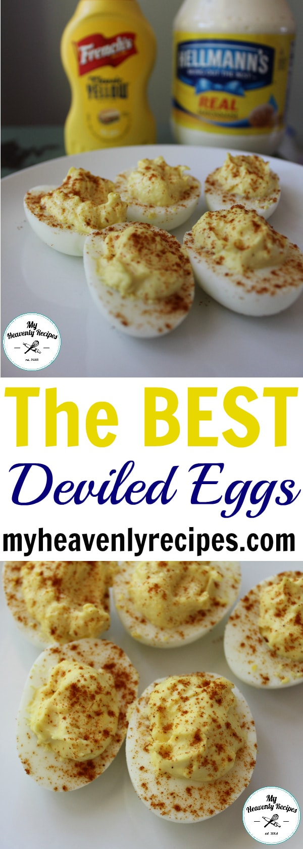 My Classic Deviled Egg Recipe is THE BEST out there! It's super simple, can be taken to your next party and won't break the bank. Not to mention, there are hundreds of variations that can be added to this classic recipe! #deviledeggs #sides #appetizer #party #myheavenlyrecipes
