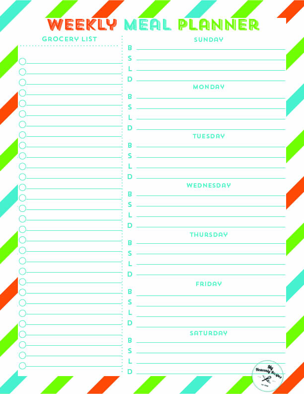 image relating to Weekly Meal Planner Printable known as Weekly Dinner System Free of charge Printable - My Heavenly Recipes