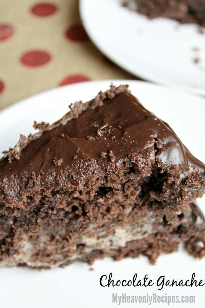 Chocolate Ganache on a slice of cake