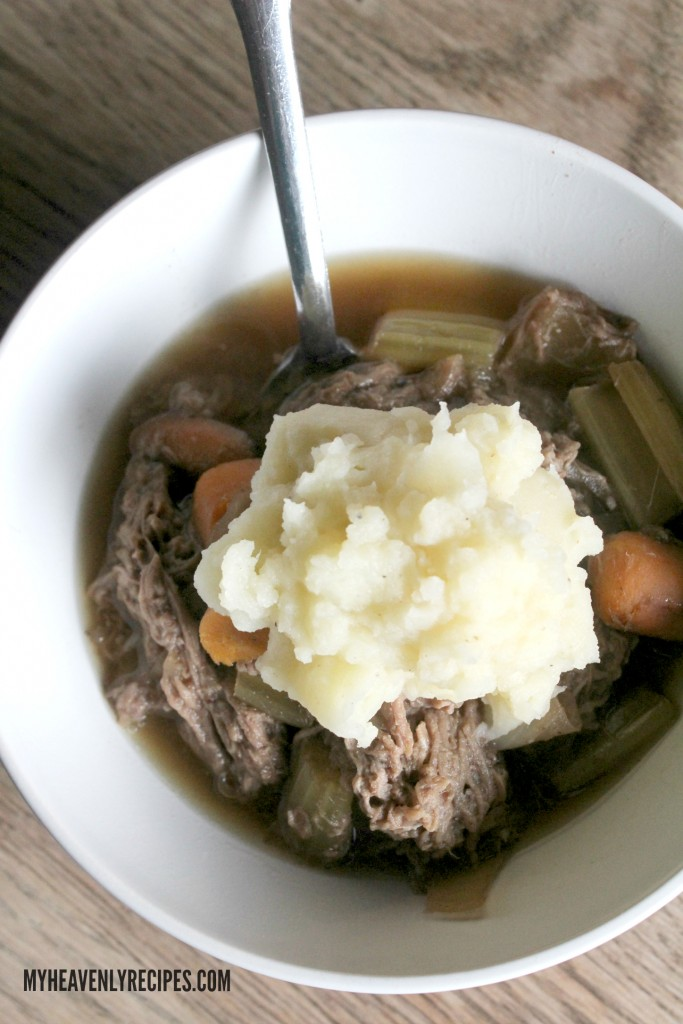 Crock Pot Pot Roast topped with the perfect Homemade Mashed Potatoes