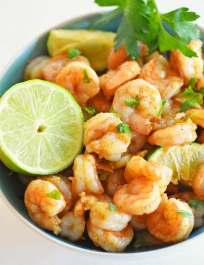 garlic lime shrimp in a bowl