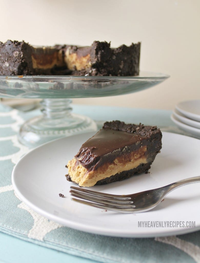 creamy peanut butter pie with chocolate ganache