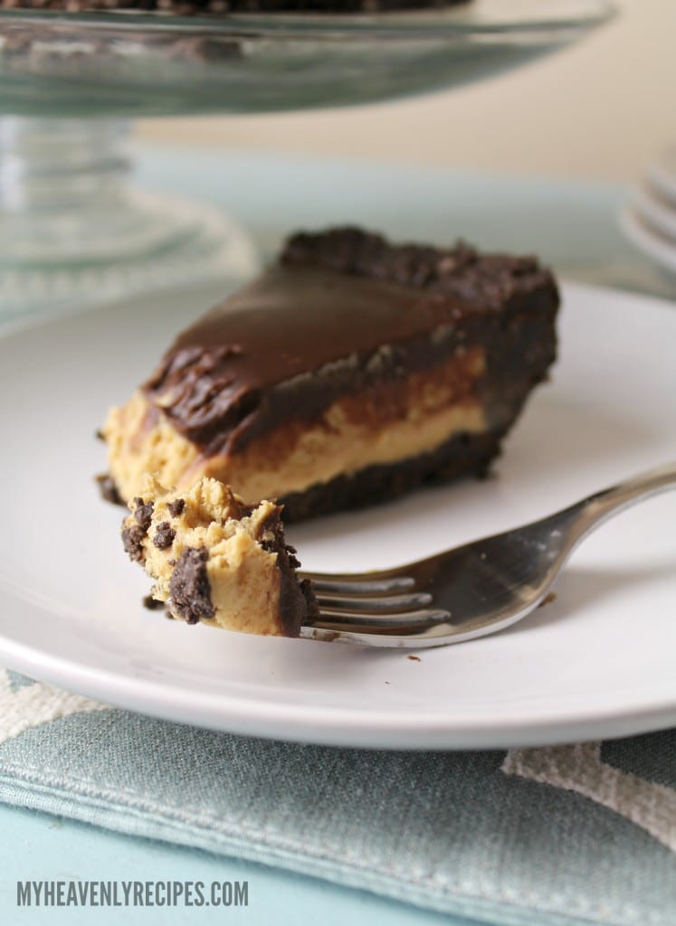 fork full of No bake peanut butter pie