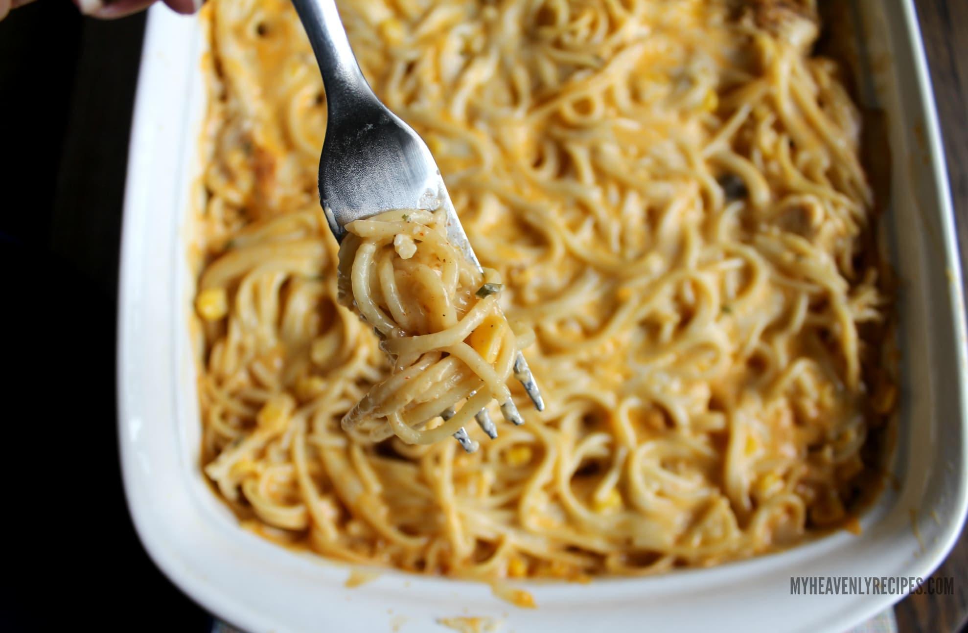 Cheesy Chicken Spaghetti Casserole Bite