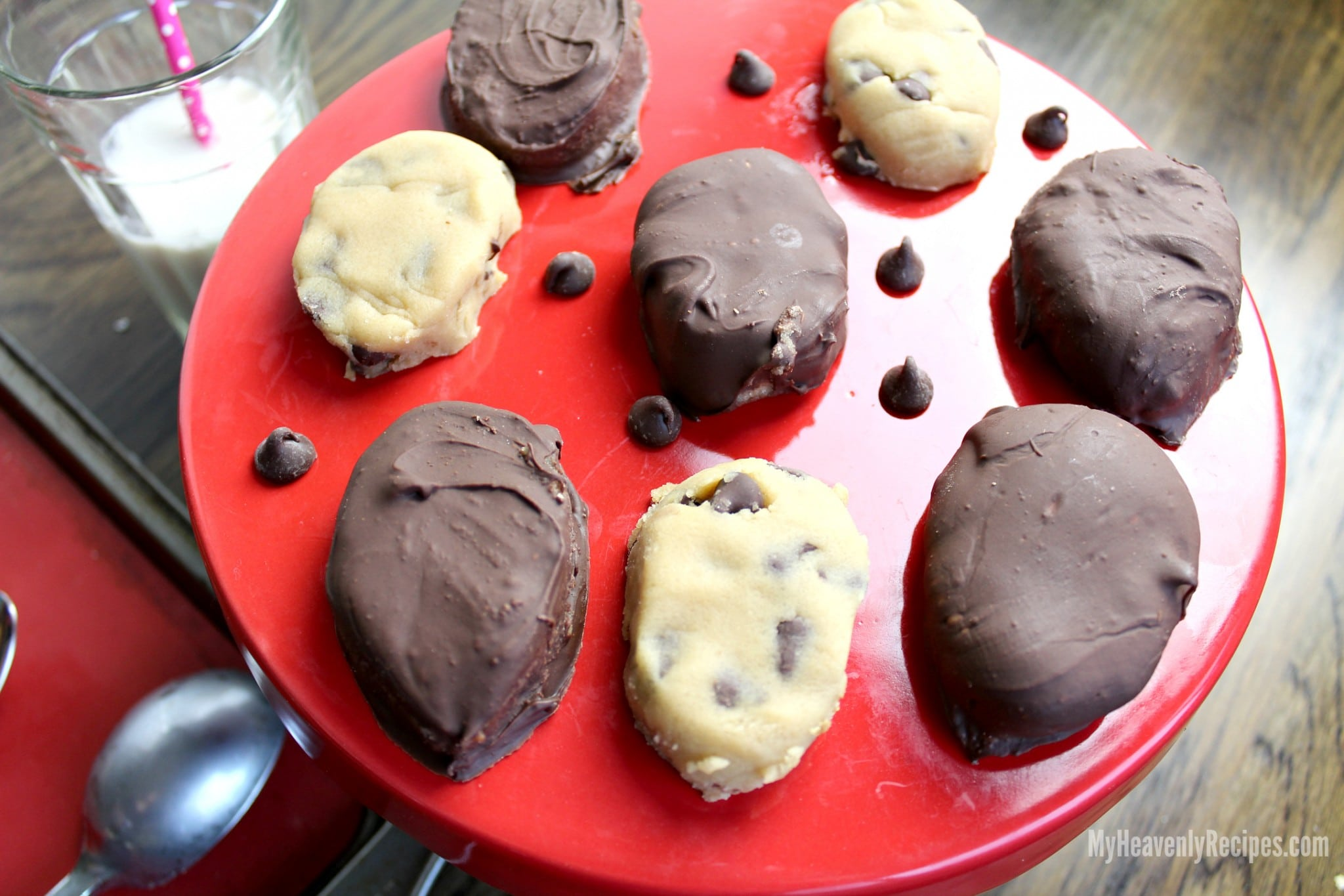 a platter of chocolate covered chocolate chip cookie dough Easter eggs