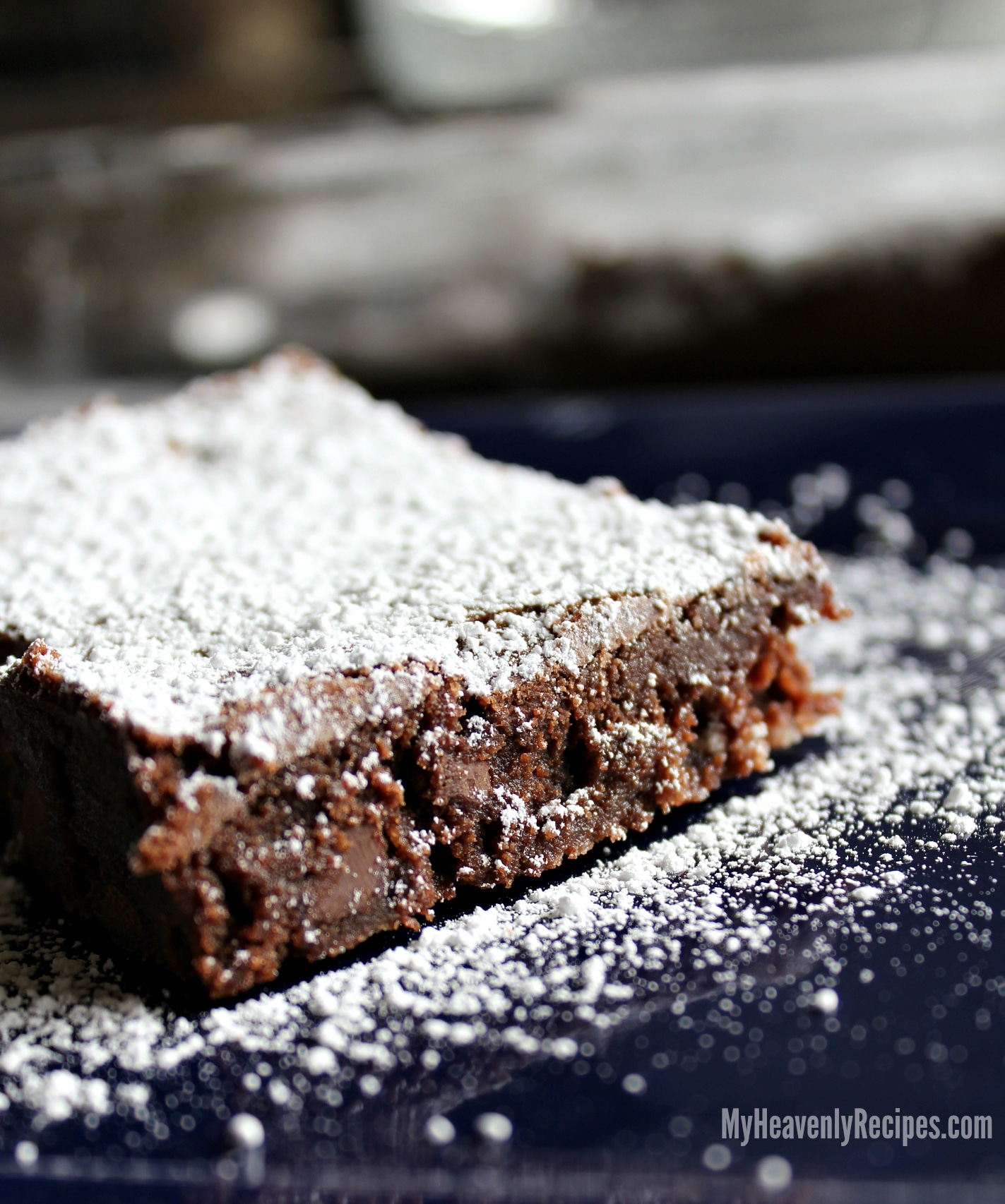 Homemade Brownies with Powdered Sugar