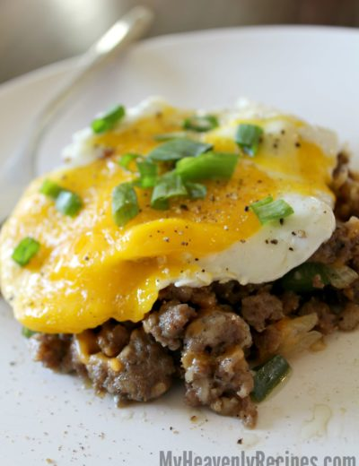 fried egg over sausage hash