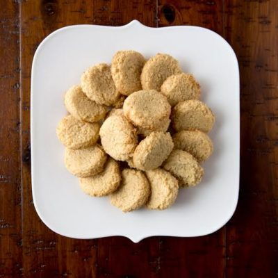 gluten free and paleo 3 ingredient cookies on a white plate