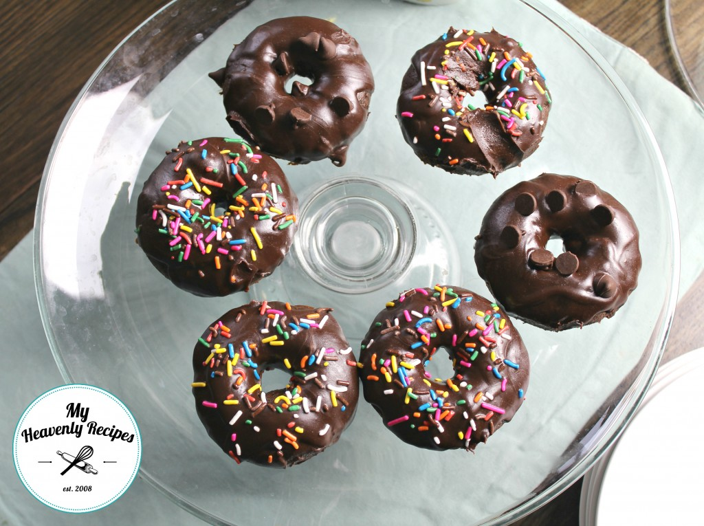 chocolate frosted baked donut recipe image