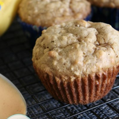 homemade banana oat muffins on a cooling rack