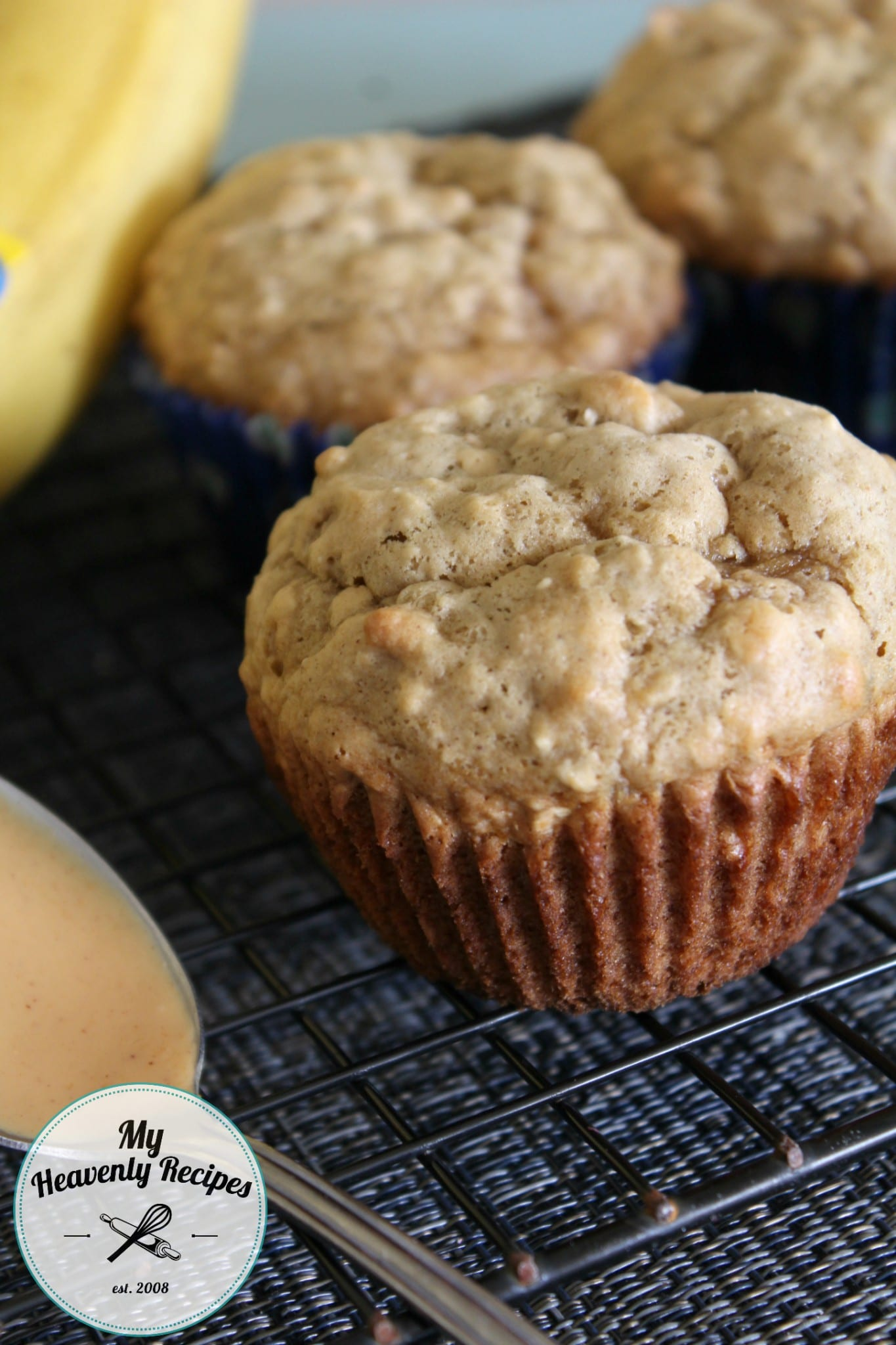 Banana Oat Muffins with Peanut Butter 1