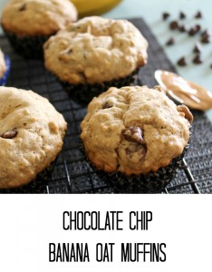 chocolate chip banana oat muffins
