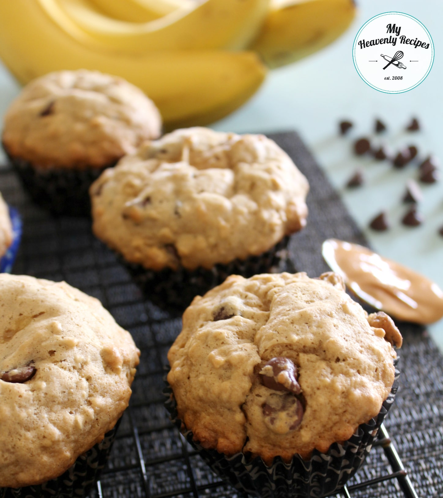 Chocolate Chip Banana Oatmeal Muffin with Peanut Butter