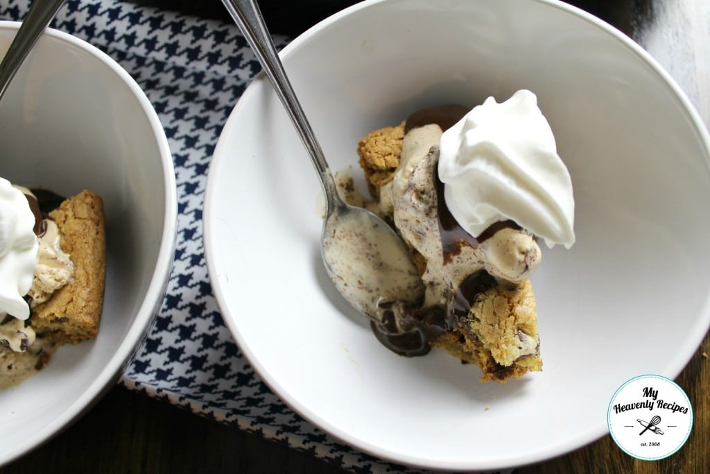 Chocolate Chip Cookie Skillet Topped with Ice Cream, Chocolate and Whipped Cream