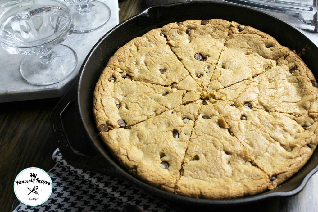 Skillet chocolate chip cookie, in the pan and cut into wedges