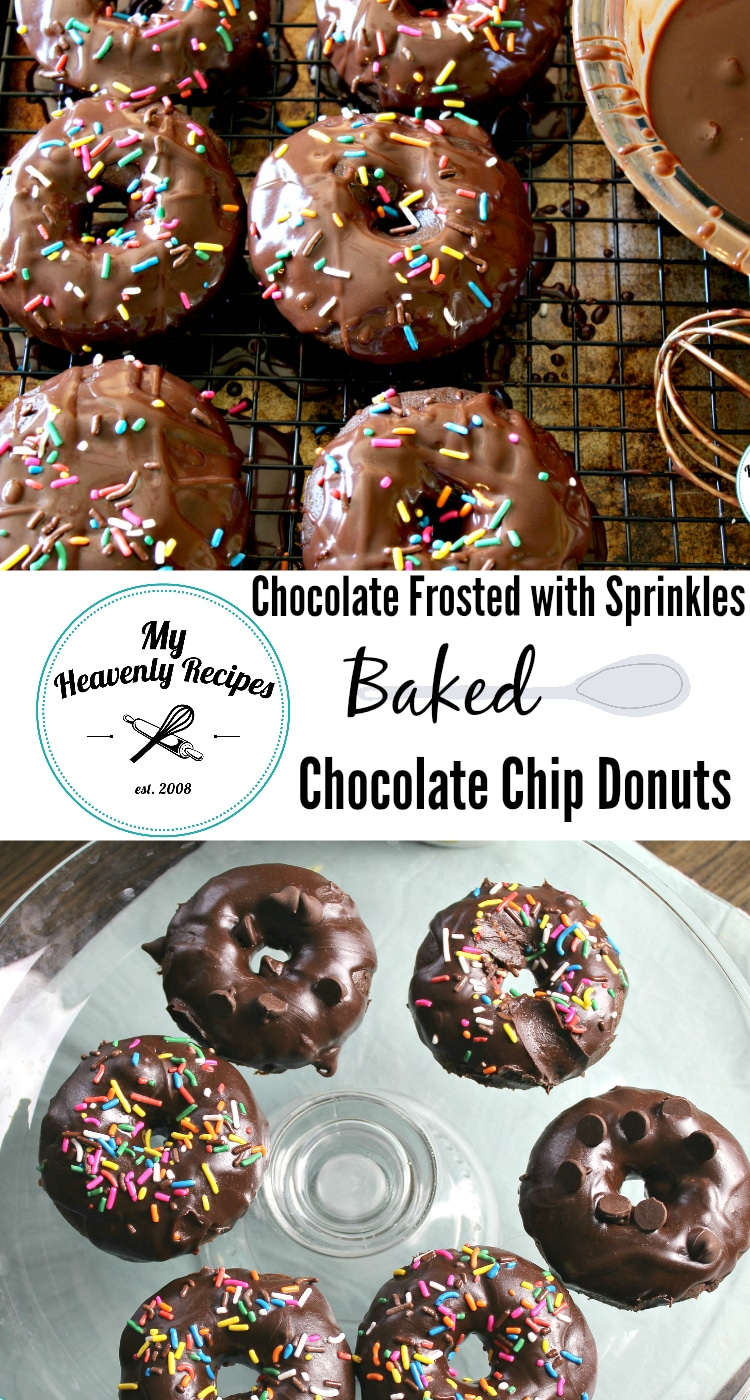 Chocolate Frosted with Sprinkles Baked Chocolate Chip Donuts