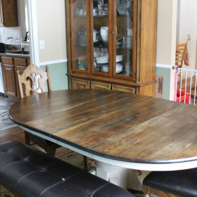 photo of a dining table makeover after completion