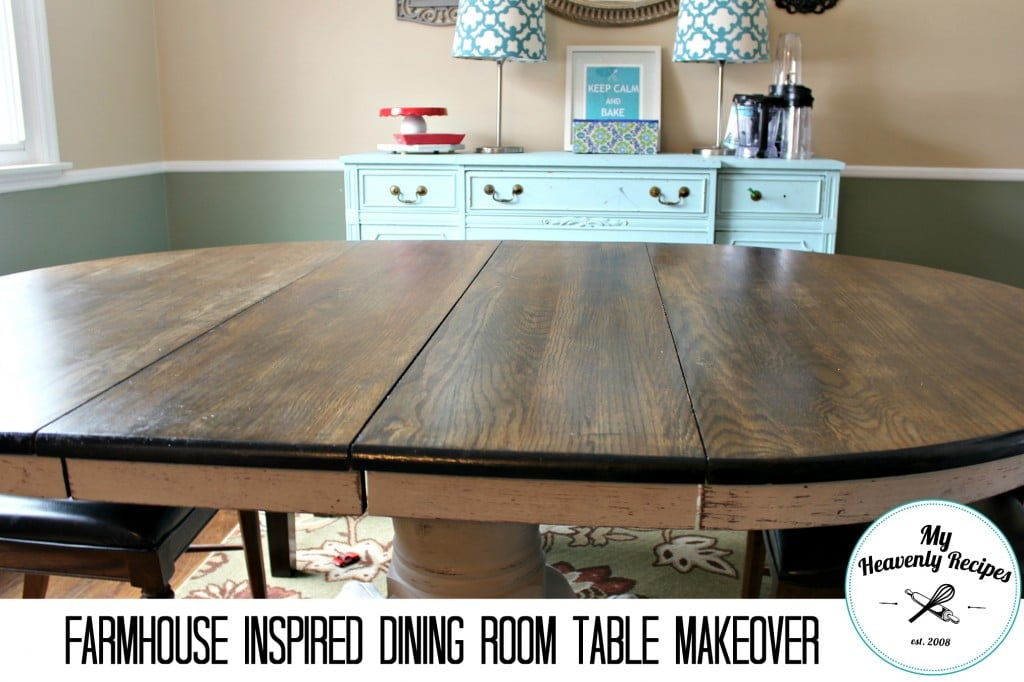 top of a dining table during a DIY makeover