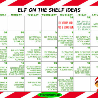 Elf on The Shelf Ideas Printable Calendar