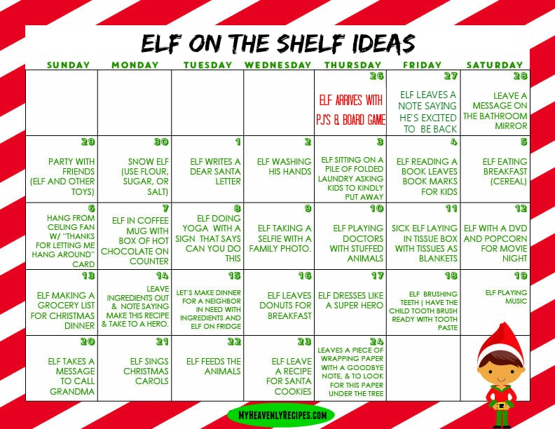 Elf on the Shelf Printable Calendar filled with Elf on the Shelf ideas