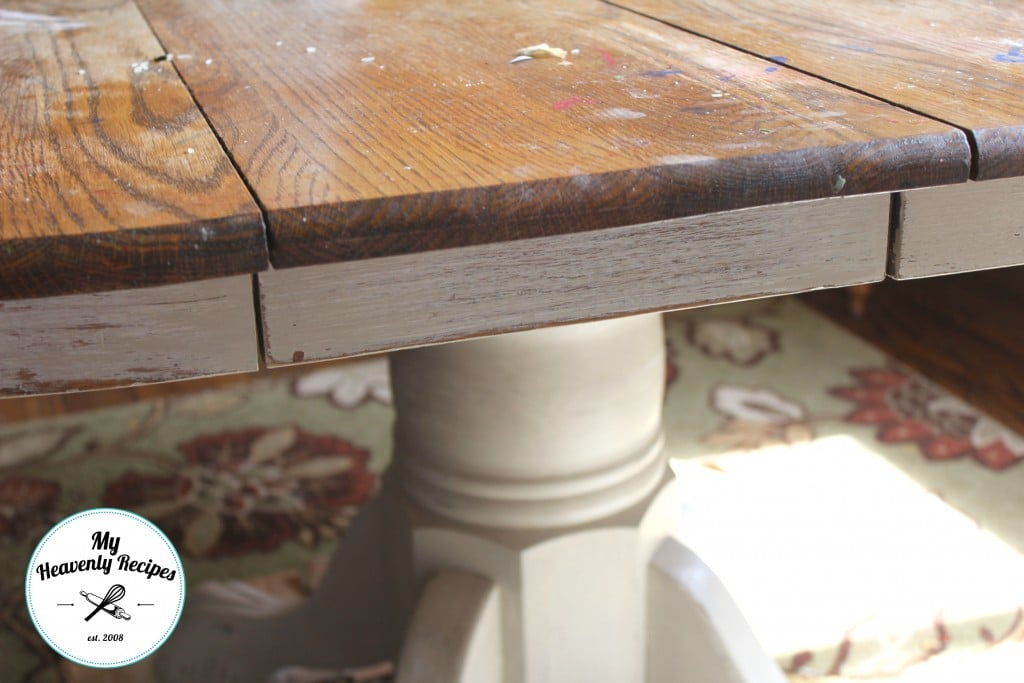 Farmhouse Inspired Dining Room Table Makeover Top Before