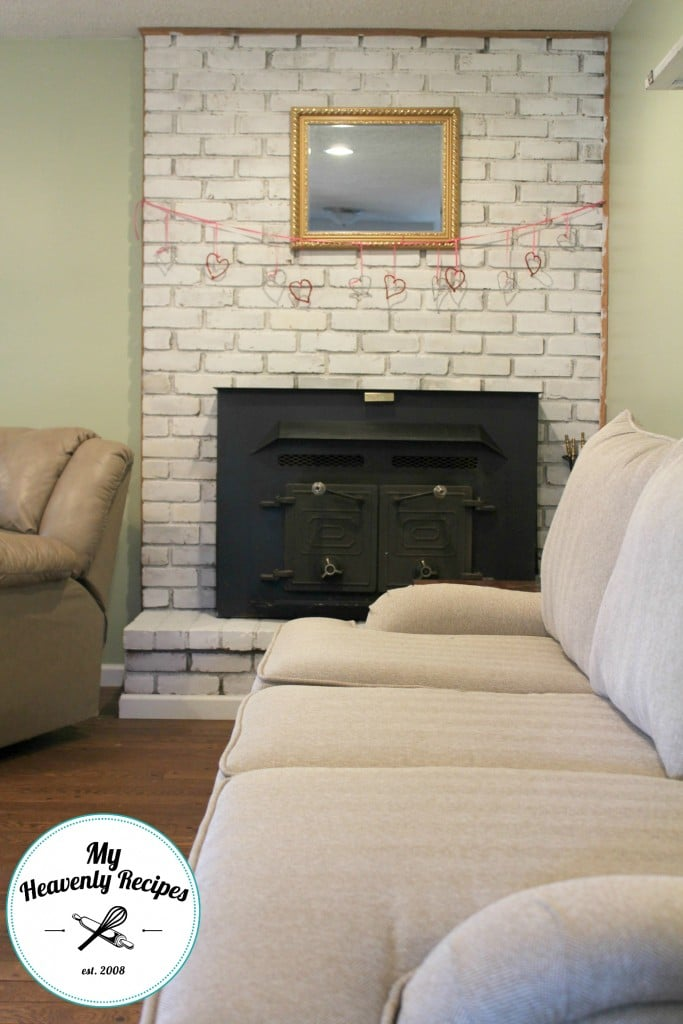 Fireplace Makeover - brick fireplace painted with chalk paint