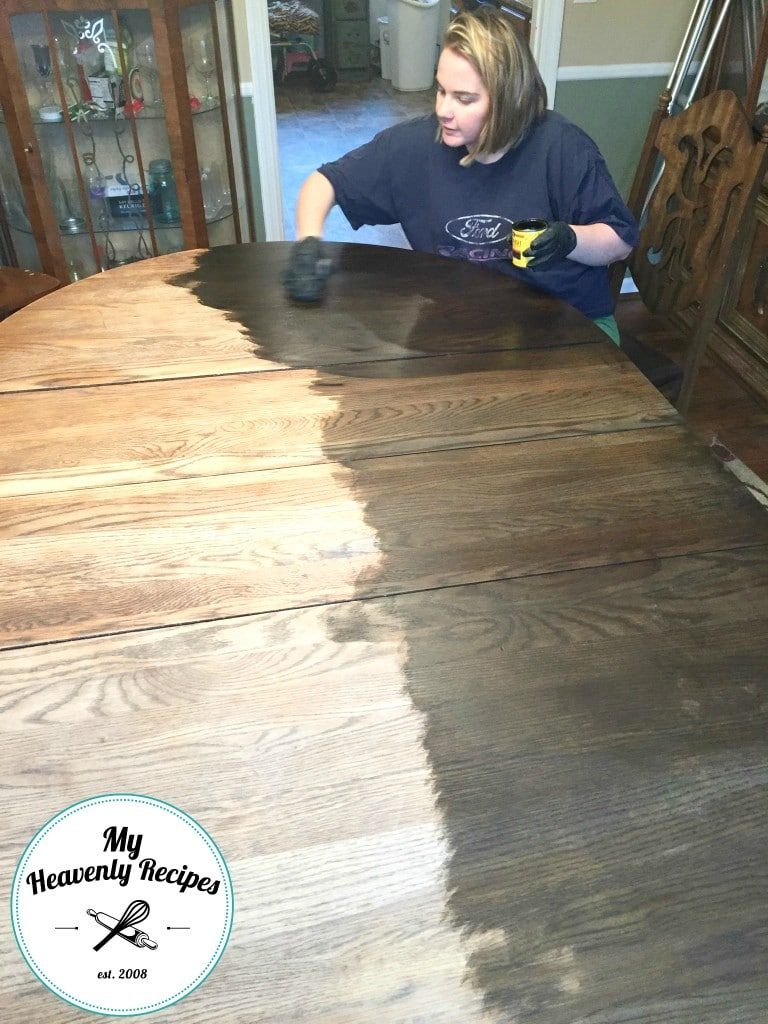 Marci Staining Dining Room Table Makeover