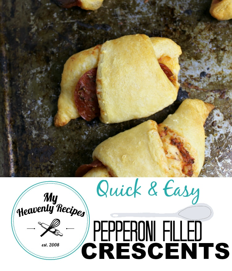 titled photo collage (and shown): Pepperoni Filled Crescents
