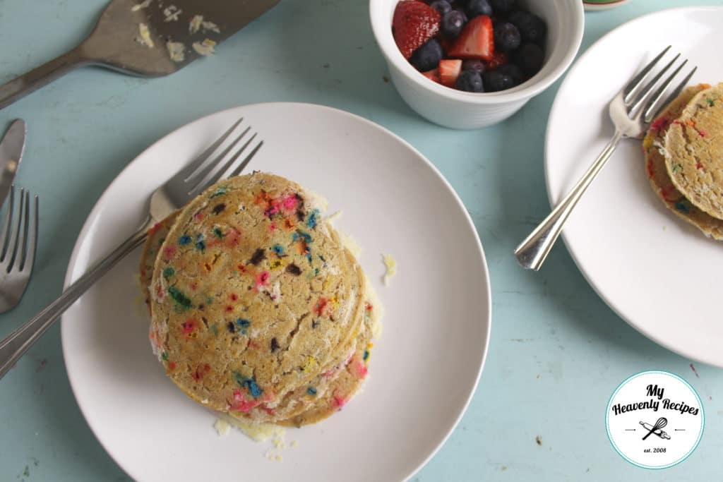 Serving Funfetti Pancakes as a special breakfast