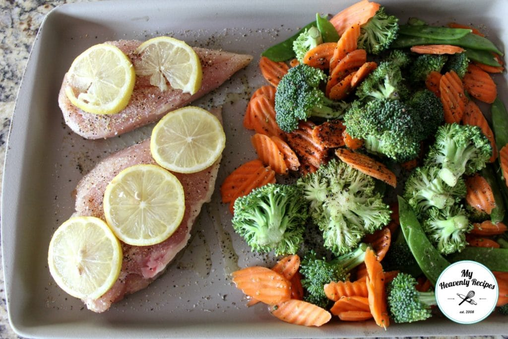 Baked Lemon Garlic Chicken with Veggies Pampered Chef Large Bar Pan