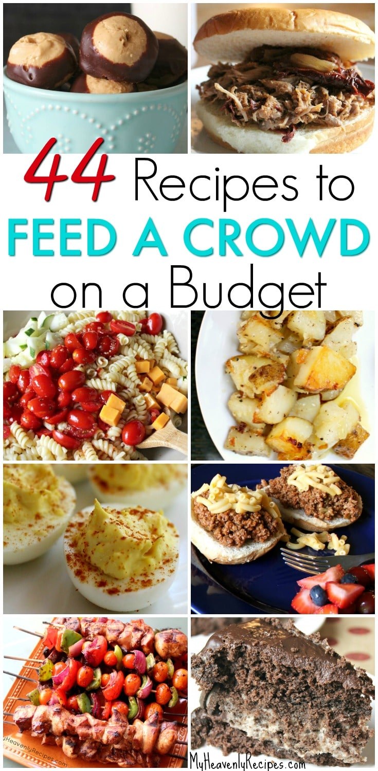 Try a few of these 44 Amazing Recipes That Will Feed a Crowd on a Budget. There's plenty to go around, won't cost a fortune and are quick to make. #MyHeavenlyRecipes #recipes #crowd #budget #cheapfood #easy