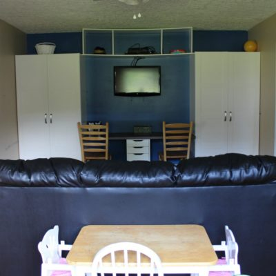 playroom with ikea wardrobe cabinets as functioning toy storage