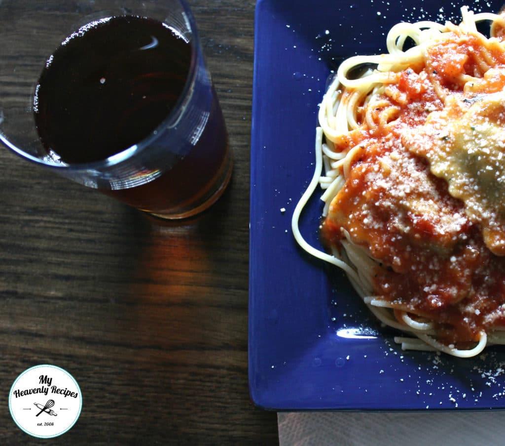 pasta dinner with meatless Italian spaghetti sauce